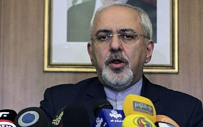 Iranian Foreign Minister Mohammad Javad Zarif speaks during a press conference at Rafik Hariri International Airport in Beirut, Lebanon on Sunday, January 12, 2014. (photo credit: AP/Bilal Hussein)