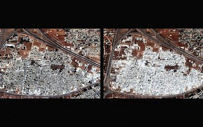 Two satellite images released by Human Rights Watch shows the Masha al-Arb'een neighborhood in Hama, Syria on Sept. 28, 2012, left, and on Oct. 13, 2012 (Photo credit: AP Photo/Human Rights Watch via Digital Globe)