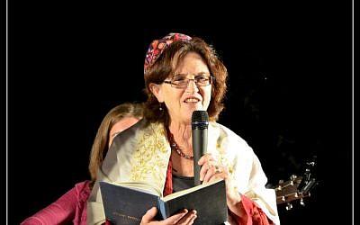 Rabbi Miri Gold celebrates Simhat Torah at Kibbutz Gezer (photo credit: Sarah Gimbel)