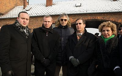 Israeli dignitaries attend ceremony at Auschwitz-Birkenau, Poland on International Holocaust Remembrance Day. From left: Jonny Daniels (From the Depths), Coalition Chairman MK Yariv Levin, singer Andrea Bocelli, Opposition leader Isaac Herzog, and Immigrant Absorption Minister Sofa Landver. (photo courtesy of From the Depths)
