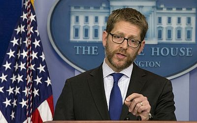 White House press secretary Jay Carney speaks during a news briefing at the White House, Monday, January 13, 2014. (photo credit: AP/Jacquelyn Martin)