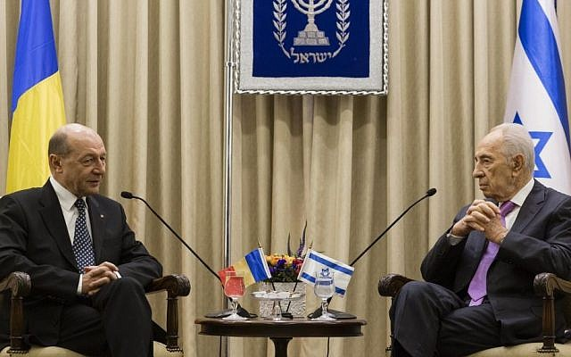 Romanian President Traian Basescu meets with Israel's President Shimon Peres in Jerusalem on January 20, 2014. (photo credit: Flash90)