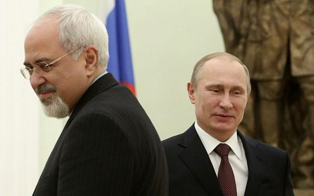 Russian President Vladimir Putin and Iranian Foreign Minister Mohammad Javad Zarif during a meeting in the Kremlin in Moscow, Russia, on January 16, 2014. (photo credit: AP/Sergei Karpukhin, Pool)
