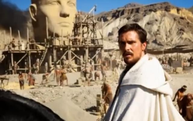 "Christian Bale on set shooting ""Exodus."" (photo credit: Youtube screenshot)"
