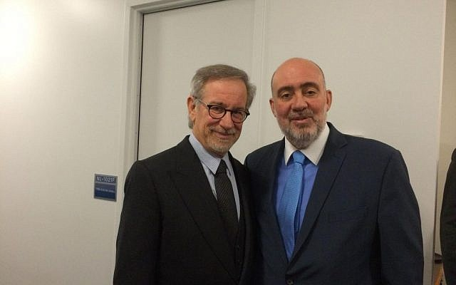 Israeli Ambassador to the UN Ron Prosor with director Steven Spielberg at the United Nations on International Holocaust Remembrance Day, Monday,  January 27, 2014. (Photo credit: Courtesy)