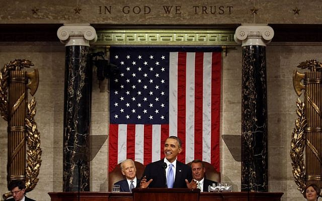 US President Barack Obama delivers the State of Union address before a joint session of Congress in the House chamber Tuesday, January 28, 2014, in Washington, as Vice President Joe Biden, and House Speaker John Boehner of Ohio, listen (photo credit: AP/Larry Downing, Pool)