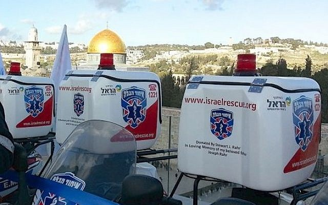 Stewart Rahr, right, poses with Hatzalah President Eli Beer in Jerusalem. (photo credit: courtesy image)