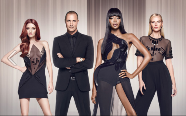 The three 'faces' of reality show 'The Face,' in their Alon Livne couture outfits, Lydia Hearst, host Nigel Barker, supermodel Naomi Campbell and Anne V (Courtesy Oxygen Media)