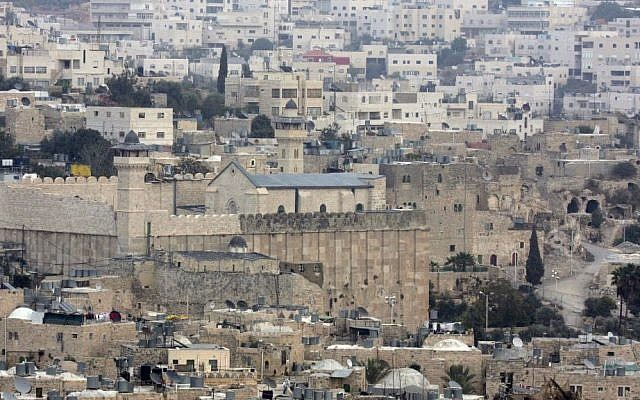 View of the Cave of the Patriarchs and Tel Rumeida neighborhood in the heart of the West Bank city of Hebron. (photo by Nati Shohat/Flash90)