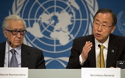 UN Special Representative Lakhdar Brahimi, left, and UN Secretary-General Ban Ki-moon at a joint press conference during the Syrian peace talks in Montreux, Switzerland, Wednesday, Jan. 22, 2014 (Photo credit: AP/Anja Niedringhaus)