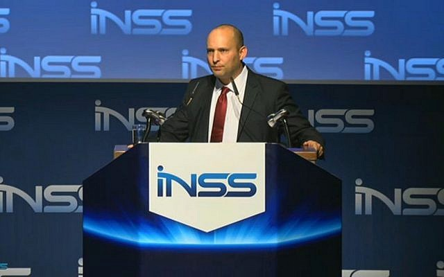 Economy Minister Naftali Bennett addresses the INSS in Tel Aviv, Tuesday, January 28, 2014 (screen capture)