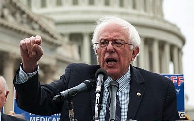 Sen. Bernie Sanders addressing a rally on Capitol Hill in 2013. (Courtesy JTA)