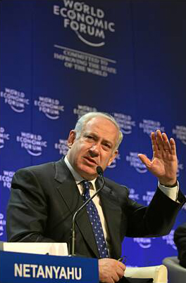Then-opposition leader Benjamin Netanyahu at the World Economic Forum in Davos, January 30, 2009 (photo credit: World Economic Forum)
