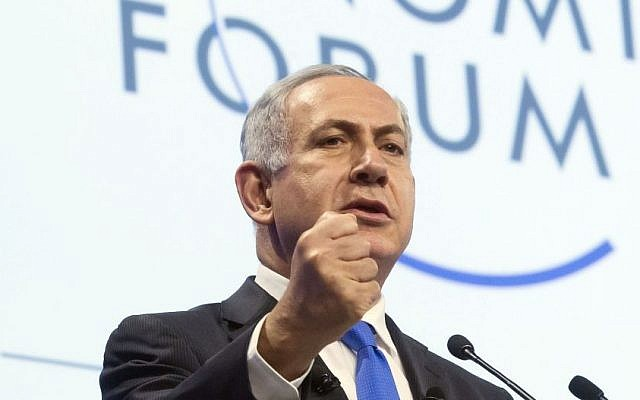 Prime Minister Benjamin Netanyahu speaks during a session at the World Economic Forum in Davos, Switzerland, Thursday, January 23, 2014 (photo credit: AP Photo/Michel Euler)