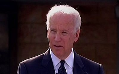 US Vice President Joe Biden speaks at the Knesset memorial ceremony for former prime minister Ariel Sharon, January 2014. (photo credit: screenshot)