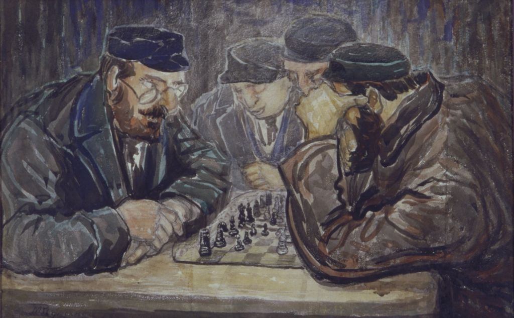 'The Chess Players', no date, watercolor, 31.5 x 48.3 cm (image courtesy of the Rynecki family)