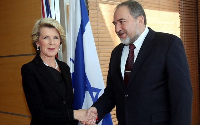 Australian Foreign Minister Julie Bishop with FM Avigdor Liberman in Jerusalem, January 13, 2014 (photo credit: Yossi Zamir)
