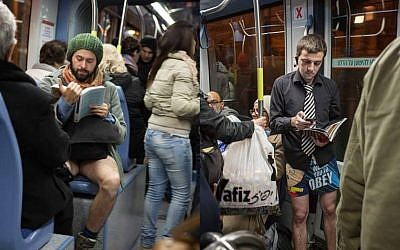 Balachsan (left) and Krassovsky (right) read nonchalantly as they ride the Jerusalem light rail pantless. (photo illustration. credit: Ailon Glitz)