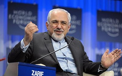 Iranian Foreign Minister Mohammad Javad Zarif at The World Economic Forum in Davos on January 24, 2014. (photo credit: AFP/Eric Piermont)