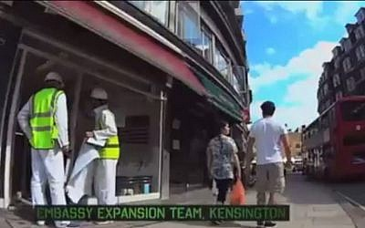 """BBC 3 show The Revolution Will Be Televised comedy sketch titled """"Expansion of the Israeli Embassy"""" December 21, 2013. . (screen capture: YouTube/Ogeezus)"""