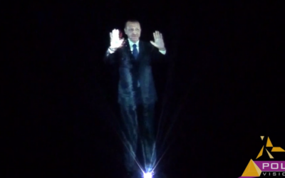 A hologram of Turkish Prime Minister Recep Tayyip Erdogan (photo credit: YouTube screen capture)