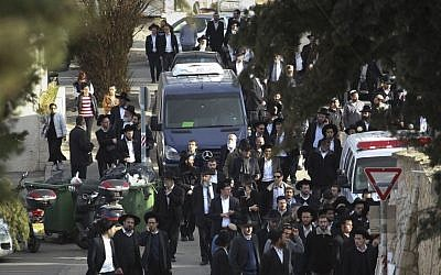 The funeral procession of Yael and Avigail Gross, two young girls who died from poisoning caused by inhalation of hazardous materials, after their family home had been treated with pesticides a few days before. (photo credit: Hadas Parush/Flash 90)