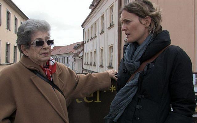 Gisi Fleischmann's niece Sona Bachner and her granddaughter Su Peleg visit the Bratislava street when Fleischmann once lived. (Courtesy of Natasha Dudinski)