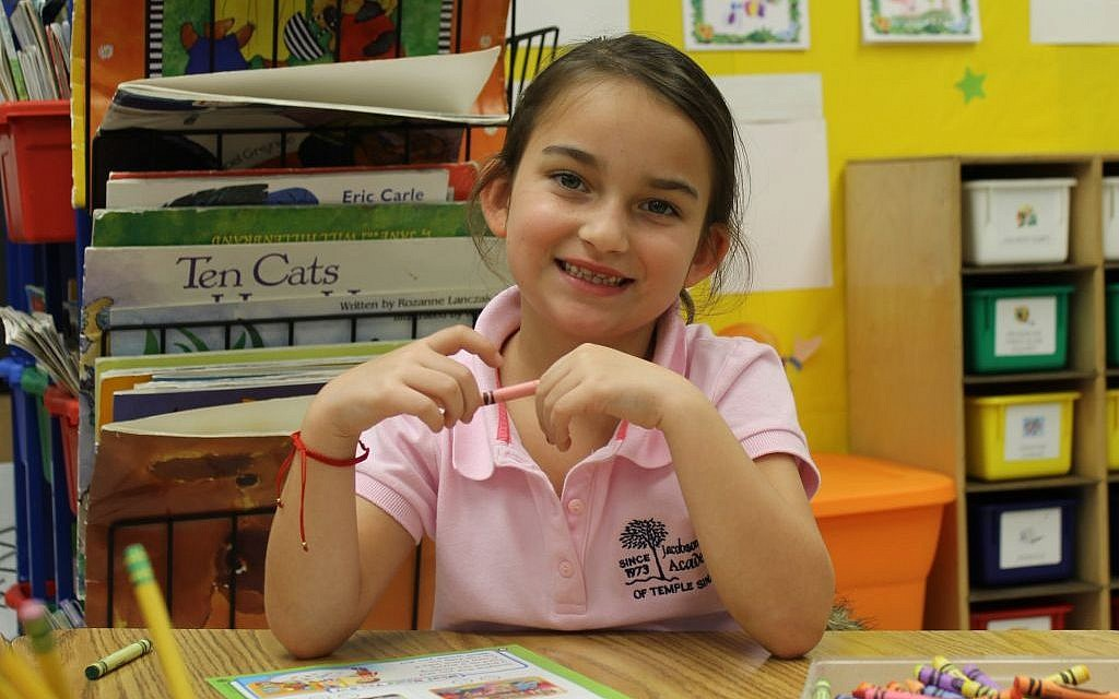 Anabella Mandelblum, a kindergarten student at Jacobson Sinai Academy in North Miami Beach, is a recent immigrant from Venezuela. (Uriel Heilman/JTA)