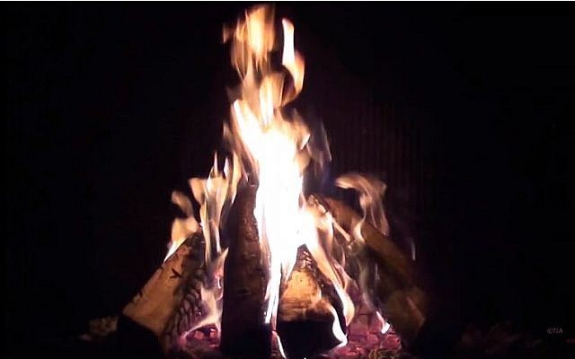 A roaring fire (screen capture: YouTube)