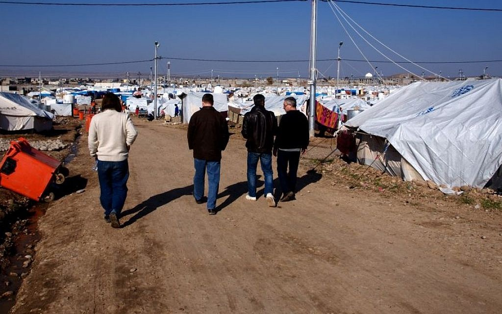 Illustrative photo of rows of tents in a refugee camp in Iraqi Kurdistan (photo credit: courtesy/Kelsey Cannon)