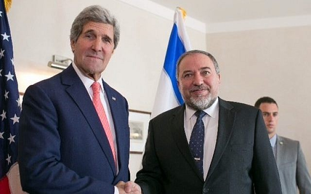 Israeli Foreign Minister Avigdor Liberman (right) and US Secretary of State John Kerry during a meeting in Jerusalem, January 3, 2014 (photo credit: AP)