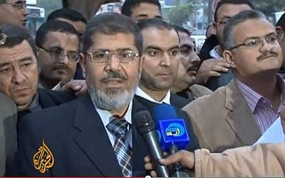 Former Egyptian president Mohammed Morsi. (screen capture:YouTube/Al Jazeera English)