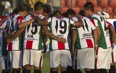 Chile's Palestino soccer team and their jerseys, which replace the numeral 1 with an outline of the entirety of Israel, the West Bank and Gaza. (photo credit: Facebook/Club Deportivo Palestino)
