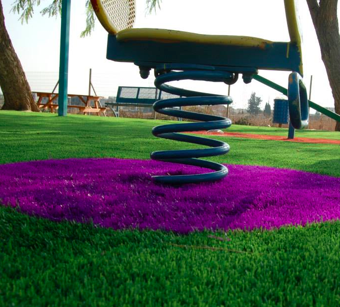 The purple and green expanses of fake grass, as offered by Pashut Yarok, just in time for Tu Bishvat (Courtesy Pashut Yarok)