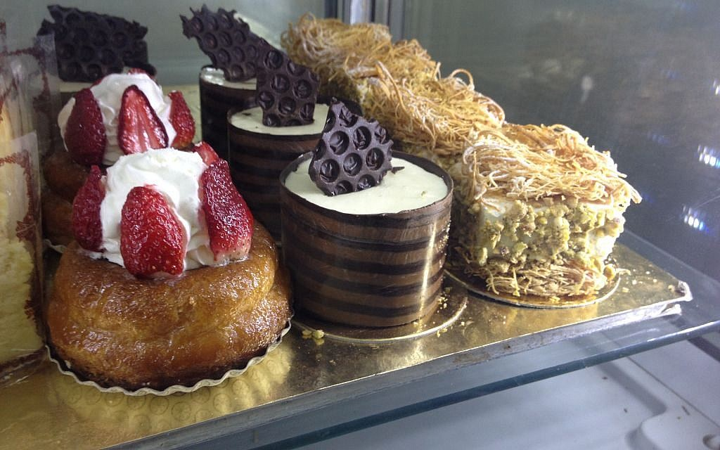 Strawberries, chocolate and cream on the pastries at Gaya Bertele (photo credit: Jessica Steinberg/Times of Israel)