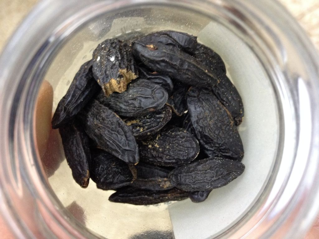 The pricey tonka bean, black, shriveled, and NIS 5 a pop (photo credit: Jessica Steinberg/Times of Israel)