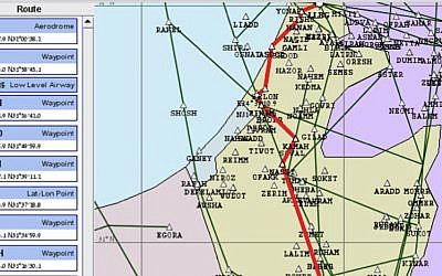One of the maps the ICRG claims to have 'hacked' off the website of the Israel Aviation Authority (photo credit: Screenshot)