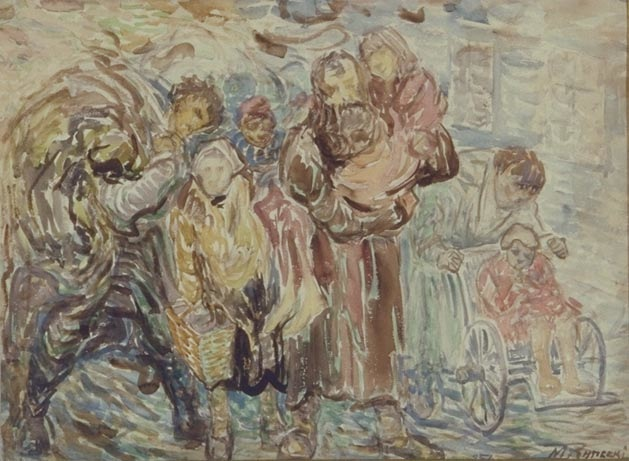 'Refugees,' 1939, depicts life inside the Warsaw Ghetto. It is at Yad Vashem in its permanent collection. 42 x 57 cm., watercolor sketch, gift of the Rynecki family