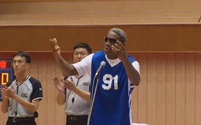 Former NBA star Dennis Rodman sings to North Korean dictator Kim Jong Un (screen capture: YouTube)