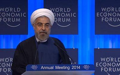 Hassan Rouhani speaking at Davos Thursday. (Screenshot: Davos World Economic Forum)