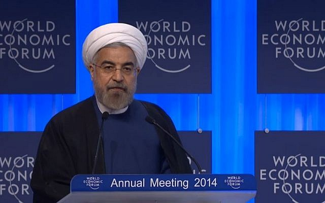 Hassan Rouhani speaking at Davos Thursday. (Screenshot: Davos World Economic Forum)