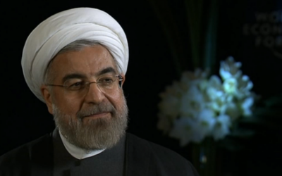Iranian President Hassan Rouhani (screen capture: RTS)