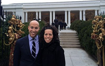 Stosh Cotler, right, is taking over as CEO of Bend the Arc from Alan van Capelle, left. They are pictured here outside the White House. (photo credit: Courtesy of Bend the Arc/JTA)
