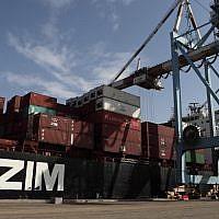 Illustrative: Zim shipping containers (Yaakov Naumi/Flash90)