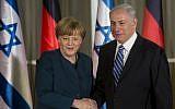 German Chancellor Angela Merkel shakes hands with Prime Minister Benjamin Netanyahu after arriving in Jerusalem on Monday, February 24, 2014.  (photo credit: Sebastian Scheiner/AFP)