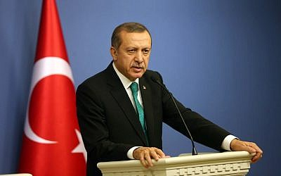 Turkish Prime Minister Recep Tayyip Erdogan speaks during a press conference with his Spanish counterpart in Ankara on Tuesday, February 11, 2014 (photo credit: AFP/Adem Altan)