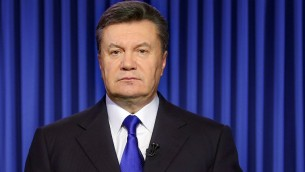 Ukraine's President Viktor Yanukovych speaks in Kiev on Wednesday, February 19, 2014, during an address to the nation (photo credit: AFP/Presidential Press Service pool/STR)