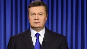 Ukraine's President Viktor Yanukovych speaks in Kiev on Wednesday, February 19, 2014 during an address to the nation (photo credit: AFP/Presidential Press Service pool/STR)