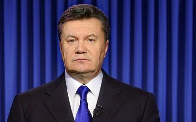 Ukraine's President Viktor Yanukovych addresses the nation in Kiev on February 19, 2014 (photo credit: AFP/Presidential Press Service pool/STR)