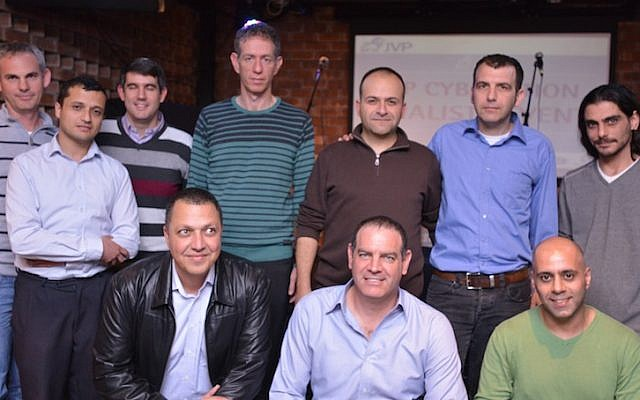 Yoav Tzruya (center bottom) with entrepreneurs from the four start-ups chosen for the finals of the Cybertition contest (Photo credit: Courtesy)
